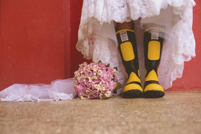 celebrant bride in wellies